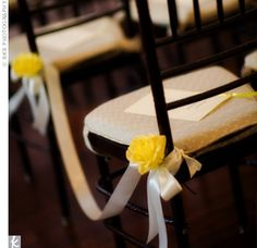 Relying on the beauty of the museum to captivate their guests, the couple only needed simple touches during the ceremony, like luscious yellow garden roses and cream-colored ribbon marking each aisle of chairs. Free Wedding, Our Wedding, Wedding Ideas, Blue White Weddings, Aisle Style, Ceremony Seating, Wedding Aisle Decorations, Festa Party, Bold And The Beautiful