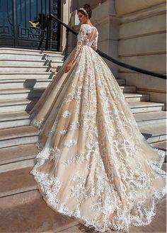 comprar Glamorosa tul y tafetán de bola vestidos de novia vestido con apliques moldeados de encaje de descuento en Dressilyme.com