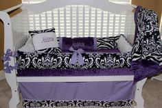 Custom crib bedding Addison set lilac and damask by BabiesNBaubles, $435.00