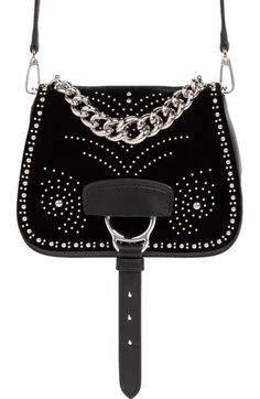 Miu Miu 'Small Dahlia' Velvet & Calfskin Leather Saddle Bag available at #Nordstrom