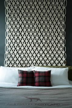 Sally England's awesome modern macrame as headboard...ace hotel pdx room 420 by Sally England, via Behance