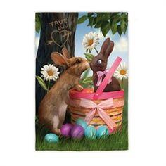 Whimsical True Love Easter Bunny Springtime Outdoor Garden Flag