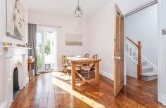 Wood floors, stripped wooden victorian door