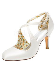 Vintage Wedding Shoes High Heel Pumps Ivory Cross Front Ankle Strap Bridal Shoes