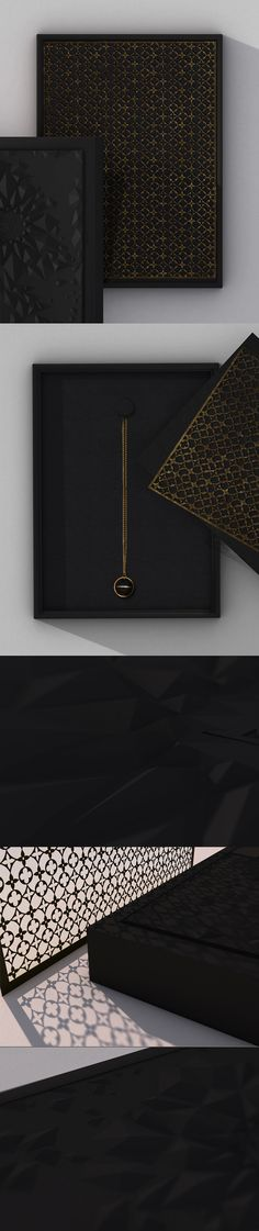 Design packaging for the jewelry line of high-fashion brand Louis VuittonThe front is encrusted with 3-D black crystal patterns, while the inside protection layer is laser-cut metal in shape of the brand's signature pattern.