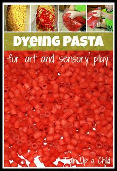 Simple and quick method for dyeing pasta for art and sensory play.