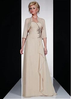 Elegant Chiffon A-line Gown  Floor-Length Mother Dress with Jacket