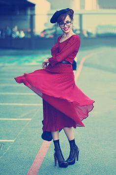 red sheer dress love