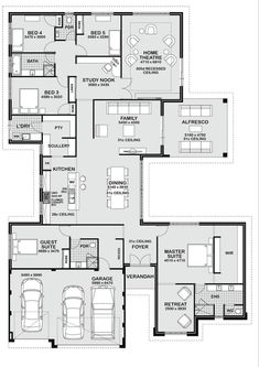 Five Bedroom Ranch House Plans - Five Bedroom Ranch House Plans, 5 Bedroom House Plans Single Story Botilight for Elegant Large House Plans, New House Plans, Dream House Plans, Modern House Plans, House Floor Plans, Dream Houses, The Plan, How To Plan, 5 Bedroom House Plans