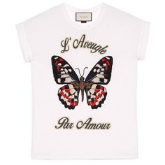 Gucci Butterfly Embroidered Cotton T-Shirt ($580) ❤ liked on Polyvore featuring tops, t-shirts, shirts, clothing - ss tops, cotton, ready to wear, sweatshirts & t-shirts, women, oversized t shirt and embroidered shirts