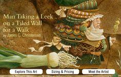 """Lehi's Dream"" The Art of James C. Christensen: Man Taking a Leek on a Tiled Wall for a Walk"