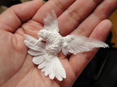 Hummingbird made entirely of paper! By Cheong-ah Hwang Shown in the Faerie Magazine https://www.facebook.com/pages/Faerie-Magazine/65239508296?fref=photo