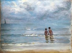 Peter Severin Kroyer - Boys in the sea at Skagen taking a bath