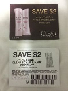 10 Coupons Save $2.00 on ONE (1) Clear Scalp & Hair Product 04/05/2014