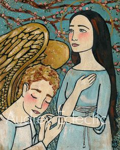 PRINT 8x10 Annunciation virgin mary with angel by audreyeclectic