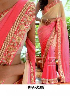 Buy Padding Georgette Cream & Light Pink Replica Saree