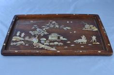 Antique Chinese Huanghuali Wood & Mother of Pearl Inlaid Tea Tray 19th Century