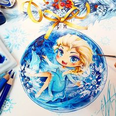 At christmas time i love to backe cookies and to spend time with my friends and family *^____^* My online store-->> www.naschi.storenvy.com  Tools: Dr PH Martin's watercolors, Faber Castell Polychromos, Airbrush, Canson Mi-teintes watercolor paper  #elsa #frozen #disney #elsafrozen #disneyprincesses #fantasy #art #cute #manga #drawing #instaart #instalove