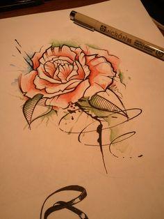 #watercolour #rose #tattoo #tatuaż #róża #kinkywizard #dowziecia