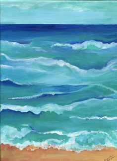 Abstract Seascape acrylic painting, ocean art 9 x 12 vertical original beach painting on canvas, blue sea, waves, sand  artwork