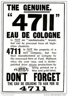 Original - Anzeige / Advertise 1903 : (ENGLISH)  4711 EAU DE COLOGNE - DON'T FORGET - 125 x 175 mm