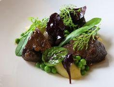 braised beef cheek, peas, truffled mash