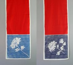Long Vintage Vera Neumann Cotton Scarf Red White Blue by luola