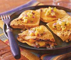 Cheese and Hominy Quesadillas with Tropical Salsa