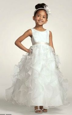 One Flower girl dress with pool blue sash and one with plum sash (Davids Bridal Style H1281)