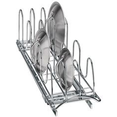 LIDS Keep all your pot and pan lids organized and readily accessible with a Chrome Roll-Out Lid Holder.  This versatile cabinet organizer fits in 21 inch deep spaces and can accommodate up to 18 lids or hold cutting boards and baking trays on a pull-out storage tray that eliminates messy cluttered and inconvenient piles.