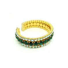 Vintage 1960's Green Diamante Bangle Bracelet - Mayveda Vintage