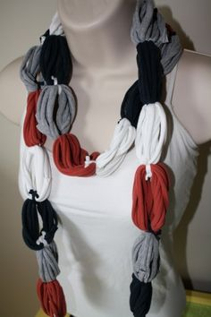 T shirt scarf I haven't been able to wear jewelry in two years since my grabby monkeys were born, I am going to make this!!!
