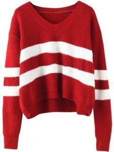 V Neck Striped Wine Red Sweater