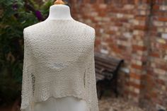 Mulberry silk bride's shawl in crocheted lace, back view.  Available from http://www.thecrimsonrabbit.co.uk/
