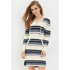 Forever 21 Forever 21 Women's  Stripe Hooded Sweater Dress ($40) via Polyvore featuring dresses, white sweater dress, sweater dress, white full length dress, sleeve dress and forever 21