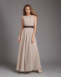 7b0b0d26a9 Soft pleating begins at this chiffon gown s high neckline