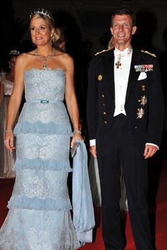 Princess Maxima of the Netherlands and Prince Joachim of Denmark attend the Monaco Royal Wedding dinner in 2011