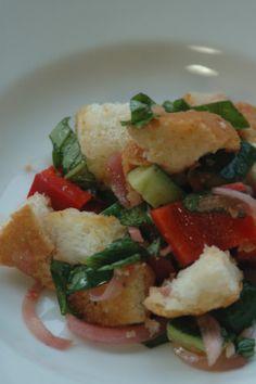 Barefoot Contessas Panzanella Salad Recipe - Food.com. i think i might like this dressing better than the pioneer woman's dressing. Add feta!