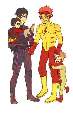 Nightwing (Dick Grayson) Kid Flash (Wally West) Robin (Tim Drake) and Impulse (Bart Allen) Young Justice League, Wally West Young Justice, Beast Boy, Nightwing, Teen Titans, Justice Kids, Justice Stuff, Robin Tim Drake, Birdflash