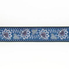 """1 1/2""""French General Flowers on Blue from @fabricdotcom  Designed by French General for Renaissance Ribbons, this decorative jacquard woven ribbon is perfect for apparel trim, home décor trim, quilt trim and crafts!"""