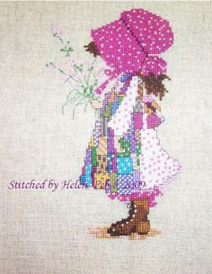 I again stitched Holly Hobbie, this time in pink version. Cross Stitch Boards, Cross Stitch Baby, Diy Embroidery, Cross Stitch Embroidery, Cross Stitch Designs, Cross Stitch Patterns, Holly Hobbie, Crochet Cross, Cross Stitching