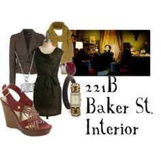221b Baker St. Interior  Pocket dress, $50Jane Norman checkered jacket, £25Wedge heel sandals, $25Liz Claiborne stretch jewelry, $50Sterling silver jewelry, $37Kenneth Jay Lane cuff jewelry, €28Rock jewelry, $20Jigsaw linen shawl, £26