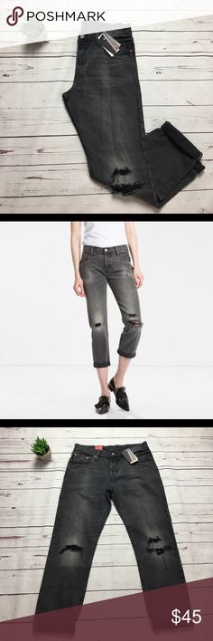 Levi's 501 Selvedge Distressed Dark Wash Jean Crop New with Tags. Distressed look. Size 27 x 32. Button Fly. Levi's Jeans Ankle & Cropped