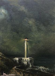 Notturno a Punta Palascia by Antonio Bonatesta Oil ~ 15 cm x 20 cm