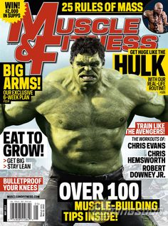 Hulk on the cover of Muscle & Fitness magazine. Note his resemblance to Mark Ruffalo (Bruce Banner).
