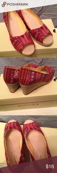 "Sonoma  Fabric Open Toe Wedge Shoes Sz 7.5 Colorful red print & stripe open toe shoes by Sonoma. Burlap wedge is 2 1/2"". Worn once, very clean inside & out. Sz 7.5 Sonoma Shoes Wedges"