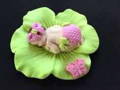 Fondant bebé niña cal rosa de la torta para Baby Shower, cumpleaños, Favor de partido