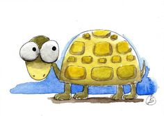 ACEO Original watercolor painting Lucia Stewart whimsical animal little tortoise…