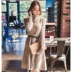 Brown  'Bubbleknot – Turtleneck Long Sleeve Sweaterdress Cable Knit Flare Dress with Belt @ YesStyle $35