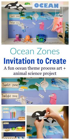Creative Ocean Zones Activity for Kids A fun art and animal Science activity to learn about ocean zones for kids. Invitation to Create sea creatures and learn about the three ocean zones - Happy Tot Shelf Kid Science, Animal Science, Summer Science, Preschool Science, Physical Science, Science Classroom, Science Education, Earth Science, Sea Activities